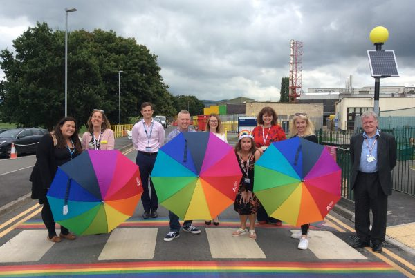 Members of the Airedale Rainbow Network on the rainbow crossing