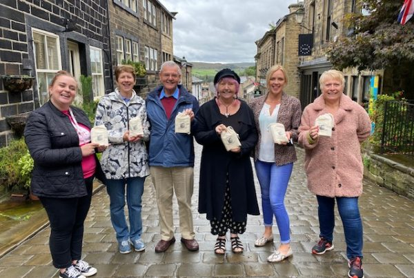 Haworth shopkeepers with the toiletry care packs
